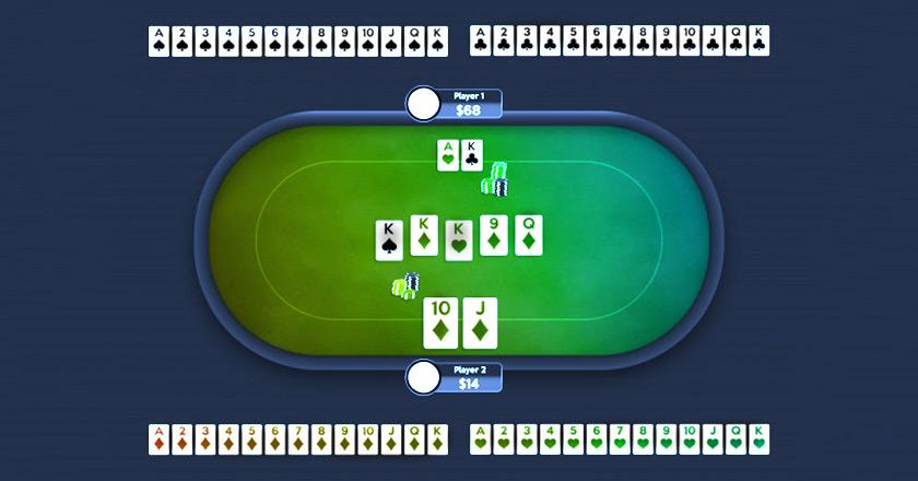 Колода карт в онлайн-покере.